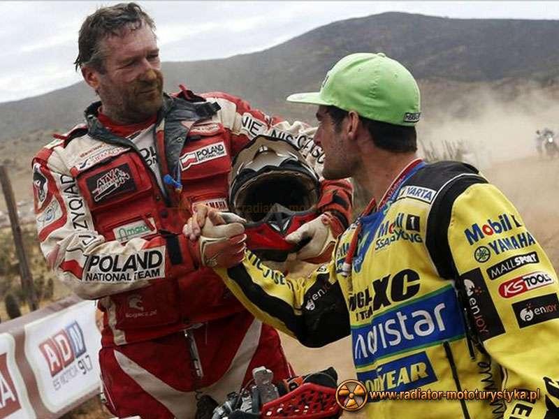Dakar 2014 - Czilijczyk Ignacio Casale (I miejsce quady) i Rafał Sonik (II miejsce quady), fot. EPA/FELIPE TRUEBA