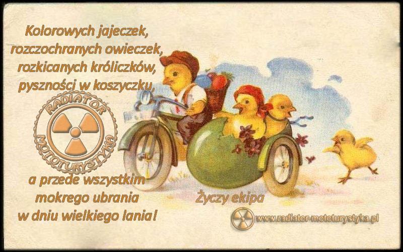 Motocyklowa kartka wielkanocna, życzenia wielkanocne