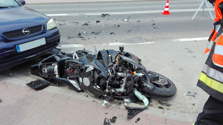Wypadek z udziałem motocykla