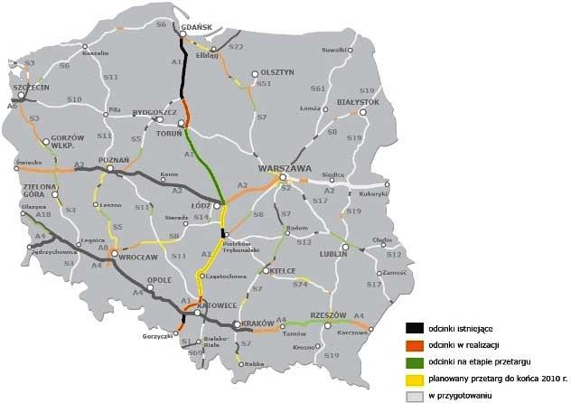 Mapa autostrad w Polsce. Nowinki motocyklowe - Radiator - Turystyka motocyklowa - Wyprawy motocyklowe - Podróże motocyklowe - Forum motocyklowe