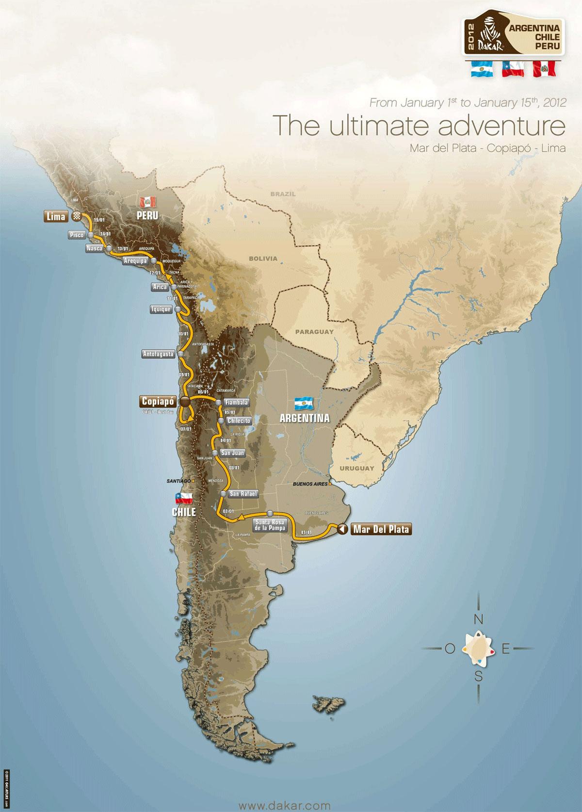 Mapa trasy Rajdu Dakar 2012
