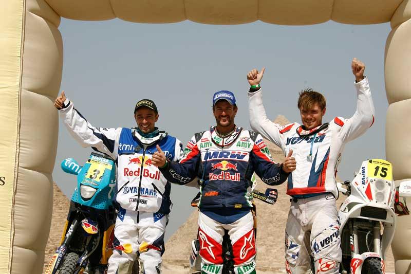 Orlen Team w Rajdzie Faraona 2011- pierwsza trójka (tzw. pudło)