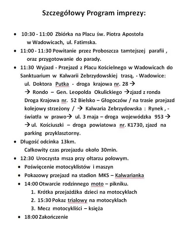 Kalwaria - program zlotu
