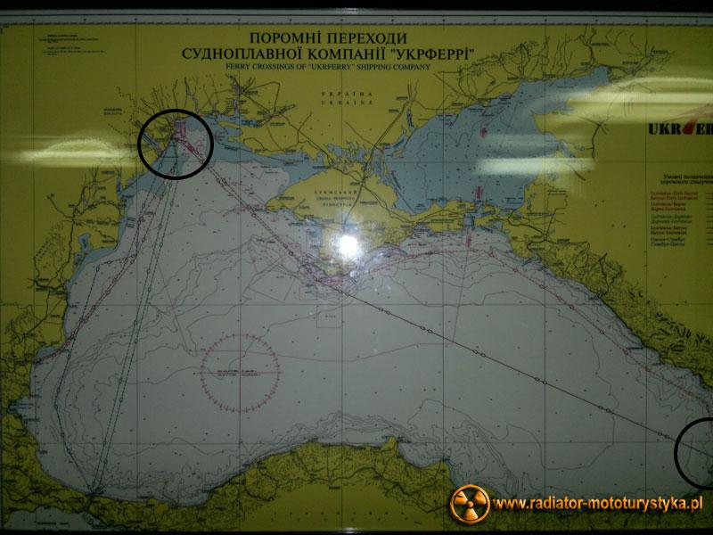 Trasa promu Batumi-lliczewsk - 1040 km
