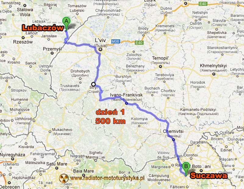 Mapa trasy motocyklowej do Gruzji