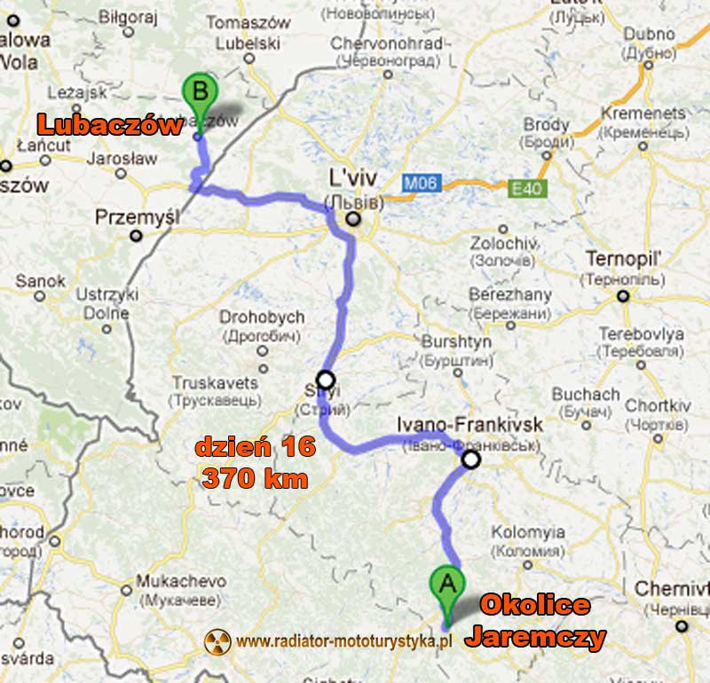 Mapa trasy motocyklowej z Gruzji