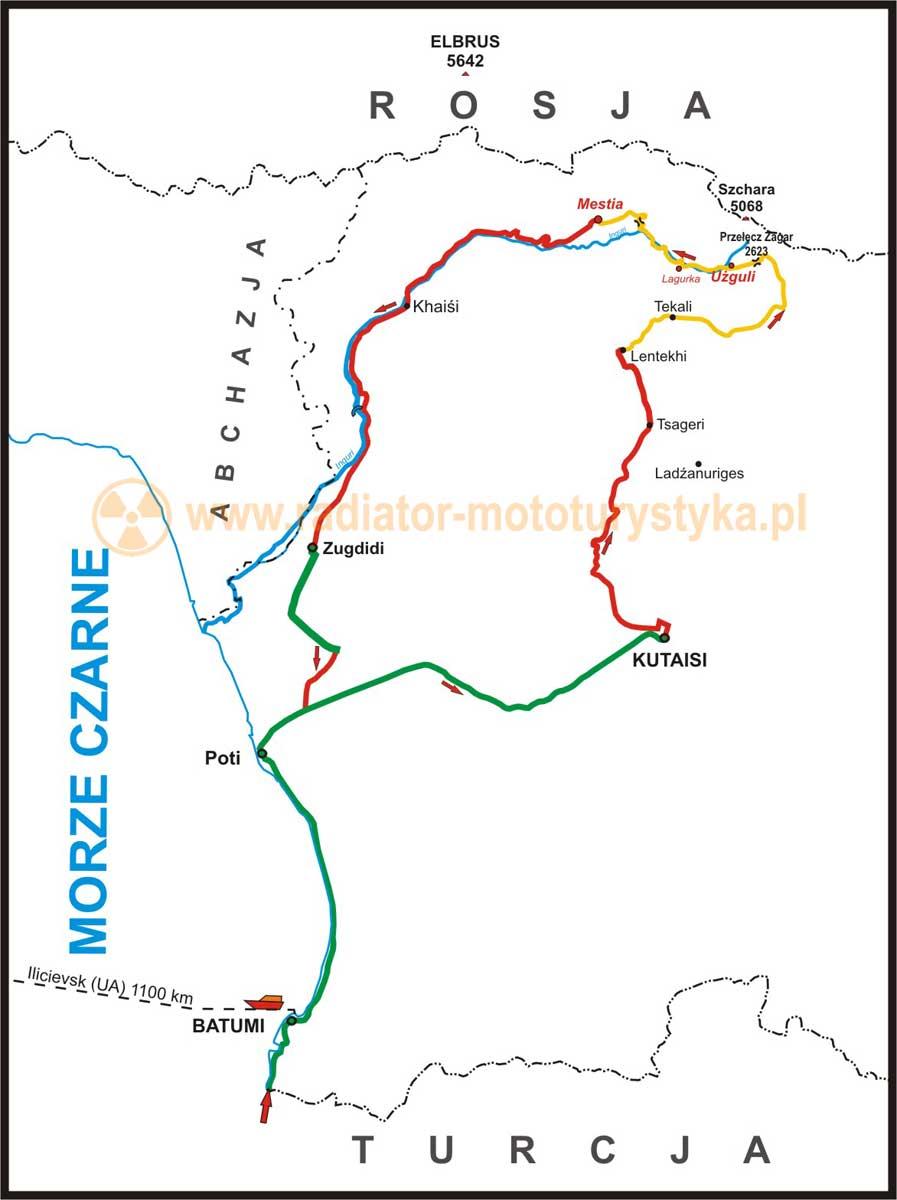 Mapa trasy motocyklowej po Gruzji