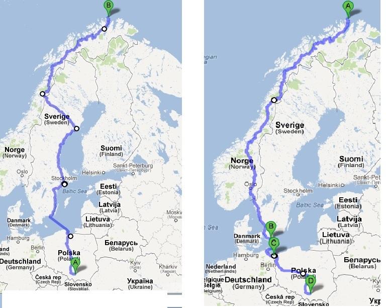 Planowana trasa przejazdu - JednaNoga w Nordkapp