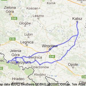 Mapa z trasy przejazdu. Kalisz - Karpacz - Harrachov