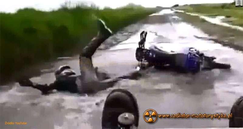 Kompilacja – wpadek motocyklistów – film