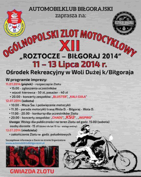 """XII Ogólnopolski Zlot Motocyklowy """"ROZTOCZE – BIŁGORAJ 11-13.07.2014"""""""