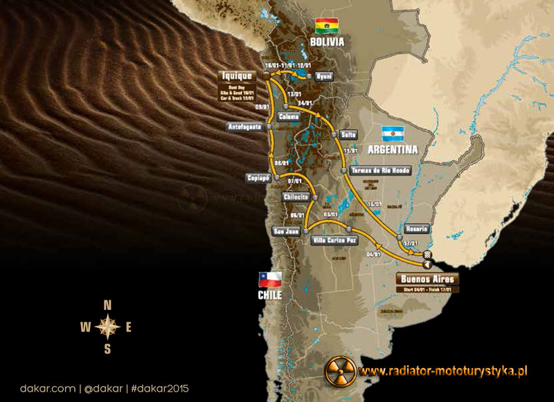 Rajd Dakar 2015 – trasa i program