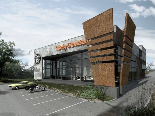 Salon Harley-Davidson GOC Rzeszów w budowie – wizualizacja