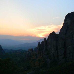 Wyprawa motocyklowa do Grecji - 2008 - Grecja, zachód słońca w Meteorach/Μετέωρα/Meteora